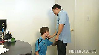 video titel: Coach Dominic Jones is not liking Kyle Ross big mouth so || porn tgas: couch,gay,mouth,