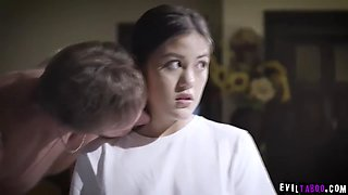 video titel: Dad sexually abuse his horrified crying stepdaughter! || porn tgas: abuse,brunette,daddy,deepthroat,jizzbunker