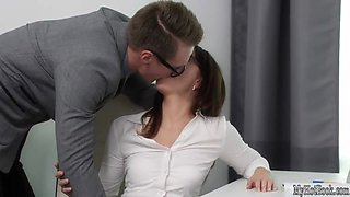 video titel: Lana is a horny secretary that hasnt been catching on to her boss advances || porn tgas: boss,glasses,horny,office,mylust