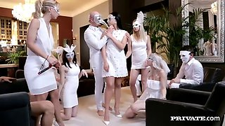 video titel: Hot girls with masks fucked in the ass in anonymous glamour orgy || porn tgas: anal,ass,big tits,blowjob,jizzbunker