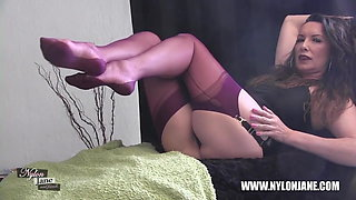 video titel: Kinky Milf teases her long nylon clad legs for your worship || porn tgas: brunette,foot,high definition,kinky,xhamster
