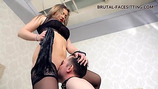 video titel: Hottest babe in black lingerie sits on the face of her slave || porn tgas: ass,babe,black,closeup,anyporn