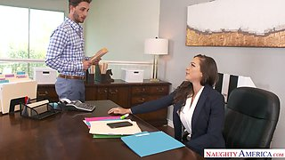 video titel: Attractive ladyboss Abigail Mac gets her pussy licked and fucked in the office || porn tgas: fuck,office,pussy,anysex