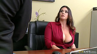 video titel: alison tyler has ceos son eat her hungry pussy underneath her desk || porn tgas: big tits,brunette,hungry,licking,jizzbunker