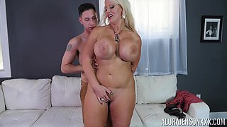 video titel: Babe with gigantic tits Alura Jenson gets grabbed and fucked hard    porn tgas: babe,big tits,blonde,couple,bravotube