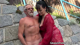 video titel: Busty grandma blows big old cock and gets cum sprayed in foursome || porn tgas: 4some,busty,cum,grandma,xhamster