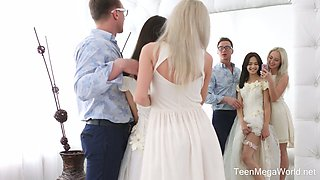 video titel: Horny designer fucks pretty hot bride Michelle Can and her sweet girlfriend    porn tgas: 3some,blonde,blowjob,bride,anysex