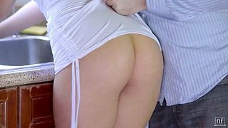 video titel: Cute blonde babe Kate England gives titjob and gets poked in the kitchen || porn tgas: ass,babe,beautiful,big tits,xcafe