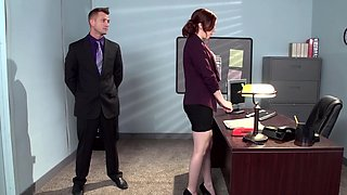 video titel: A redhead that has a hairy pussy is getting fucked in the office || porn tgas: blowjob,boss,fuck,hairy,sexvid