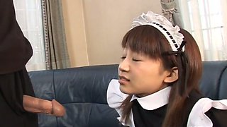 video titel: Cute maid flashes her booty to her master and gives him head as well || porn tgas: asian,big ass,blowjob,booty,anysex