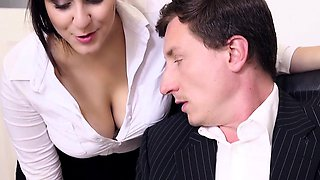 video titel: BUMS BUERO Office fuck with busty German secretary || porn tgas: babe,big tits,brunette,busty,
