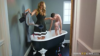 video titel: Rebecca More and Stacey Saran attack a guy for a bathroom fuck || porn tgas: 3some,bathroom,big tits,blonde,bravoteens
