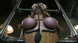 video titel: Felony Bound in Cruel Latex, Metal and Leather Bondage! || porn tgas: anal,bdsm,bondage,double,