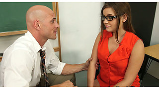 video titel: Hungry for cock Ashlynn Leigh gives a head to her school teacher || porn tgas: blowjob,brunette,cock,glasses,anysex