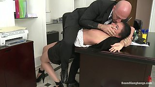 video titel: Secretary Take Down Boss and Friends Tie her up and Fill her Pussy w Cum || porn tgas: ass,bdsm,blowjob,boss,hotmovs